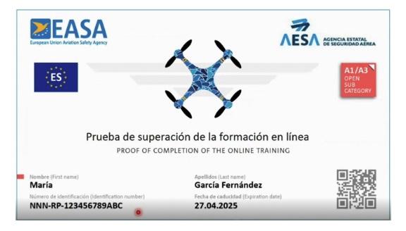 Prueba de superación de la formación en línea - AESA - Drones
